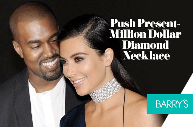 Kim Kardashian's Very Expensive Push Present- Million Dollar Diamond Necklace